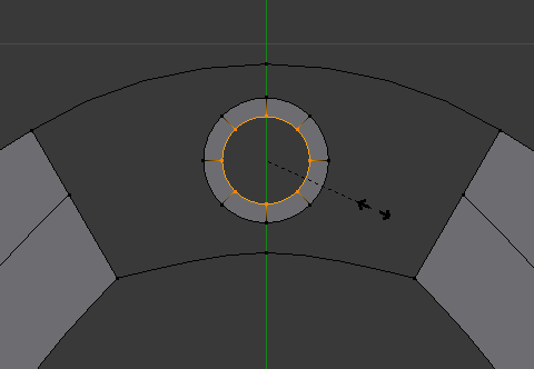 extrude dan scale circle kecil